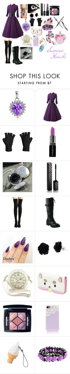 """Sumire Hinaki (warrior dress)"" by sasukeuchiha2498 ❤ liked on Polyvore featuring beauty, Bling Jewelry, Icebreaker, Smashbox, Cathy's Concepts, Gucci, Christian Dior and Vera Wang"