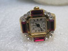 Vintage Bonetto Rhinestone Finger Watch, Digits, Faux Ruby Baguettes/Clear Stones, Japan Movement, 1980's