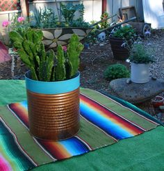 Upcycled Big Cans For Garden Flowers Cactus by NopalitoVintageMore