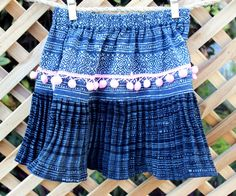 Little Girls Ethnic Hmong Skirt Indigo Batik With Soft by DekDoi