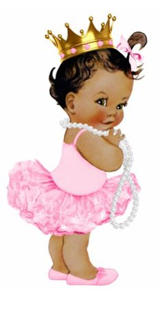 Shop Ethnic Ballerina Tutu Princess Baby Girl Shower Cutout created by The_Vintage_Boutique. Angel Princess, Baby Girl Princess, Baby Shower Princess, Angel Baby Shower, Girl Shower, Baby Shower Gifts, Baby Afro, Ballerina Tutu, African American Babies