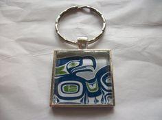 Seattle Seahawks Silver Key Chain Pendant 1.25 Hand by BadCatCraft