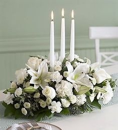 Christmas Floral Centerpieces From Martha Stewart and White Floral Centerpieces, Winter Wedding Centerpieces, Winter Wedding Flowers, Candle Centerpieces, Wedding Table, Wedding Decorations, Candles, Unity Candle, Christmas Centerpieces