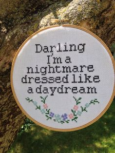 "Taylor Swift ""Darling I'm a nightmare dressed like a daydream"" Lyrics Finished Cross Stitch Blank Space Embroidery"