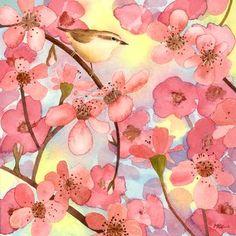 """si può stampare fino ad un formato massimo di cm. 90x90 (montata su tavola). Lacquarello originale è ancora disponibile. """"Conversazione d'uccellini""""  dittico potrebbe essere carino anche per la testata di un letto, ipotizzando l'uccellino in rosa come una femminuccia e quello in viola come un maschietto!! I quadrati possono raggiungere un formato massimo di cm. 90x90."""