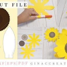 DIY Paper Sunflower with free SVG & template | flowers