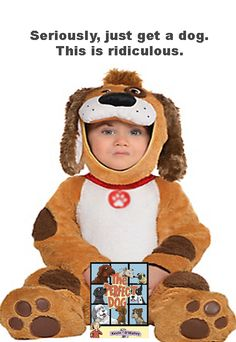 Baby Playful Pup Dog Costume includes a hood, jumpsuit, and booties. This baby puppy costume features a plush dog face hood with floppy ears.