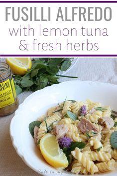 Fusilli Alfredo with Lemon Tuna & Fresh Herbs #tunarecipes #tuna #alfredo