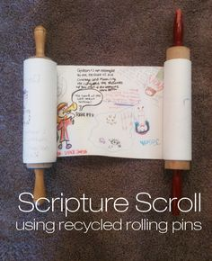 Make this cool scripture scroll out of two recycled rolling pins and a roll of Ikea craft paper!
