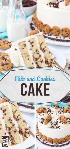 A Milk and Cookies Cake is an adorable dessert at kids' birthday parties, showers or holiday gatherings Birthday Cake Kids Boys, Cookie Cake Birthday, Birthday Parties, 3rd Birthday, Birthday Ideas, Milk Cookies, Cake Cookies, Cupcakes, Cake Recipes