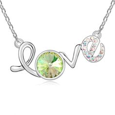 [$3.61] Swarovski Elements Crystal Necklace --My Love (Luminous Green 1-697)