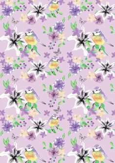 Blue Tit Floral on Lavender Blue Tit, Summer Breeze, Freedom, Lavender, Floral, Fabric, Liberty, Tejido, Political Freedom