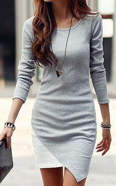 Grey-White PatchworkIrregular Long Sleeve Chiffon Mini Dress - Mini Dresses - Dresses