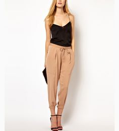 Self Tied Khaki Harem Pants @ MayKool.com  Cute outfit but DO NOT ORDER THESE!!!