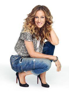 I love this mix! Sleek black pumps, distressed jeans, and glamorous sequins top!