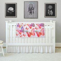 """East Urban Home Butterfly by Li Zamperini Fleece Blanket Size: 40"""" L x 30"""" W"""