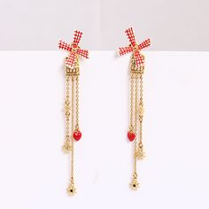 France Les nereides New Product Hand Enamel Glaze Rotation Windmill Red Heart Tassels Earrings 925 Silver Needle Women Jewelry