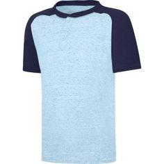Hanes X-Temp Boys' Short Sleeve Raglan Henley T-Shirt, Size: Medium, Blue