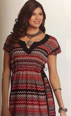 Women's Tunic Dress M Country Western Aztec Crochet Red White Black #RUApparel #TunicDress #Casual
