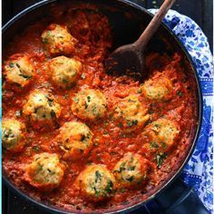 Chickpea Dumplings in Curry Tomato Sauce - a perfect vegetarian one pot dish; to veganize, use non-dairy yogurt.