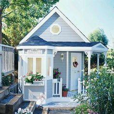 Spielhaus im Garten - verschiedene blaue Farbtöne Modern House Ideas For You After leaving the paren Small Cottage House Plans, Small Cottage Homes, Cute Cottage, Cottage Style, Little Cottages, Small Cottages, Cabins And Cottages, Small Houses, Backyard Playhouse