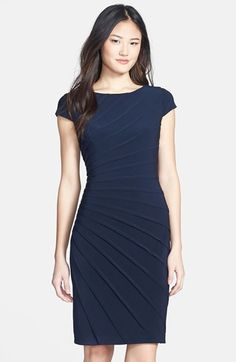Adrianna Papell Pintuck Pleat Jersey Sheath Dress (Regular & Petite) available at #Nordstrom. Interview dress idea for Miss Anaheim contestants. www.missanaheimpageant.org. #MissAnaheimOrg