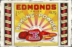 Edmonds Baking Powder 1879 Vintage Look Reproduction Metal Sign 8122649 Kiwiana, Vintage Metal Signs, Tin Signs, Tea Cakes, Vintage Ladies, Powder, Baking, How To Make, Cook Books