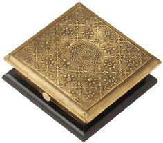 Golden Treasures - Handmade 6x6 Inch Wooden Trinket Box / Keepsake Box With Embossed Brass Sheet Decorations - Buy in Bulk Wholesale
