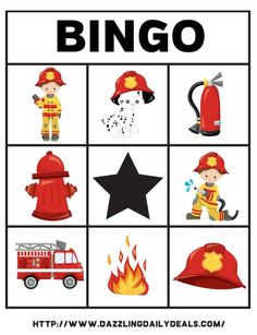 Fire Safety Crafts, Fire Safety Week, Preschool Fire Safety, Preschool Themes, Preschool Activities, Family Activities, Bingo, Firefighter Crafts, Firefighter Games