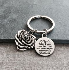 "Today I tell your DAD ""I do"" and promise you forever too, Step Daughter, Daughter of the Groom, Silver Keychain, Silver Keyring, Step son by SAjolie, $22.95 USD"