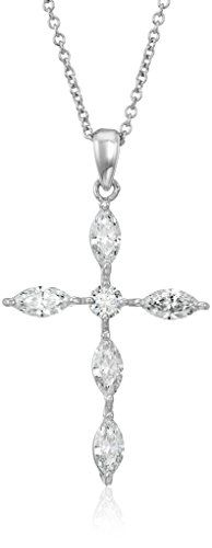 PlatinumPlated Sterling Silver Swarovski Zirconia Marquise Round Cross Pendant Necklace 162 Extender -- More info could be found at the image url.(This is an Amazon affiliate link)