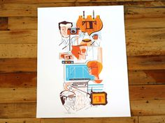 Scotty Reifsnyder Print: The inner-workings of Lost Type, as illustrated by Scotty Reifsnyder. Lost Type, Design Art Nouveau, Office Prints, Banner, Poster Design Inspiration, Layout, Design Studio, Print Artist, Illustrations And Posters