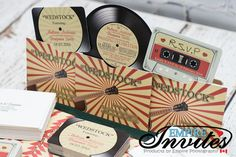 vinyl record invitations music themed wedding by EmpireInvites