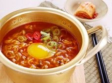 Korean ramen! Just like in the dramas, cooked in a naembi, or tin noodle pot.