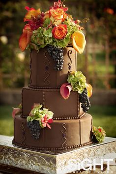 Chocolate cake with fresh floral and real grapes | photo by XSiGHT Photography & Video