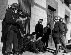 German members of the International Brigades; Madrid, Spain - November 1936  Photo by Robert Capa  The majority of those participating had communist or socialist backgrounds and were of the working class. Some men who left Nazi Germany to fight among the Republican forces against the Nationalists were World War I veterans who had experience fighting in paramilitary organizations during the years of the Weimar Republic.