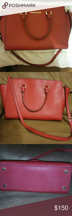 Large Red Michael Kors Selma bag. Saffiano leather in gorgeous deep red color. Michael Kors Bags Crossbody Bags