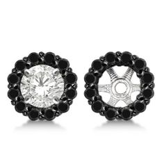 14k Gold 0.50ct Round Cut Fancy Black Diamond Earring Jackets