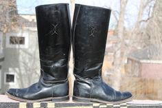 vtg leather womens tall equesterian riding boots size 9 by Taite, $35.00