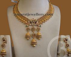 Jewellery Designs: Jhumka Hanging Mango Necklace