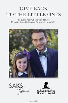 For every repin, Saks will donate $1 to St. Jude Children's Research Hospital.: