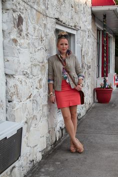 A Gap jacket as featured on the blog Pearls and Twirls.