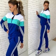 2017 Spring Autumn New Tracksuits Female Mix-color Long-sleeve Zipper Sweatshirts Pants Two-piece Set Sportswear Svitshot Women