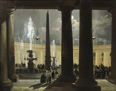 Ippolito Caffi | La place saint Pierre de Rome au clair de lune, 19th C.
