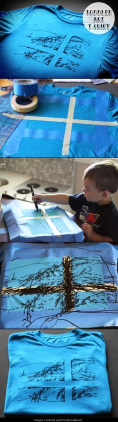 DIY Toddler Art T-Shirt  -  cute idea for a Fathers Day Gift!