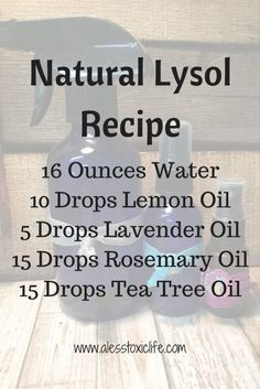 Natural Lysol Recipe - homemade spray with essential oils to kill germ and disinfect diyessentialoil essentialoils housecleaning cleanwithouttoxins lavender teatreeoil youngliving doterra Essential Oils Cleaning, Essential Oil Uses, Doterra Essential Oils, Essential Oil Diffuser, Homemade Essential Oils, Essential Oil Cleaner, Antibacterial Essential Oils, Thieves Essential Oil, Homemade Cleaning Products