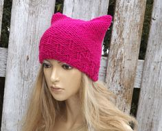 Knit Hat Cat Beanie Hat PINK nitted Beanie Cat hat by Degra2