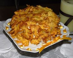hummingbird cake with edible dried pineapple flowers