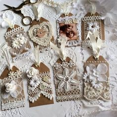 I had a creative afternoon yesterday making those little lace tags✂️ I am kind of satisfied that those simple tags turned to be like… - Pin Coffee Shabby Chic Crafts, Vintage Crafts, Fabric Crafts, Paper Crafts, Diy Crafts, Card Tags, Gift Tags, Fabric Journals, Handmade Tags