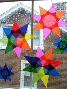Decorations for dreary winter days. Christmas Art For Kids, Christmas Crafts, Xmas, Diy Crafts For Kids, Arts And Crafts, Paper Crafts, Tissue Paper Decorations, Paper Stars, Spring Activities